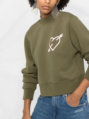 PALM ANGELS WOMEN PIERCED HEART FITTED CREWNECK