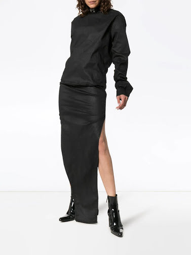 RICK OWENS WOMEN LONG SLEEVE BANANA DRESS WAXED DENIM