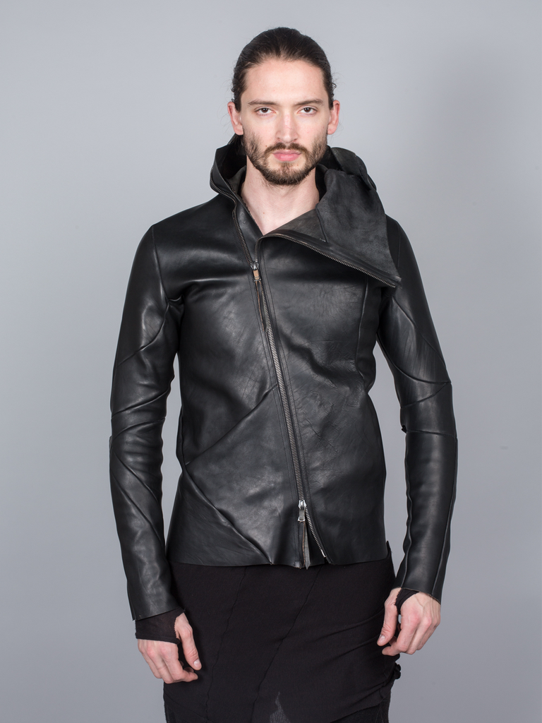 LEON EMANUEL BLANCK DISTORTION LEATHER JACKET GUIDI CALF LEATHER