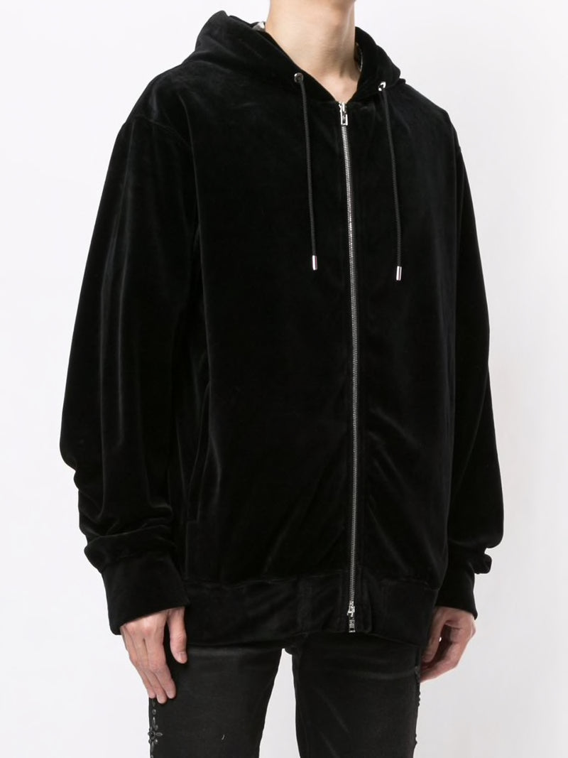 MASTERMIND WORLD MEN VELVET LOGO ZIP UP SWEATSHIRT