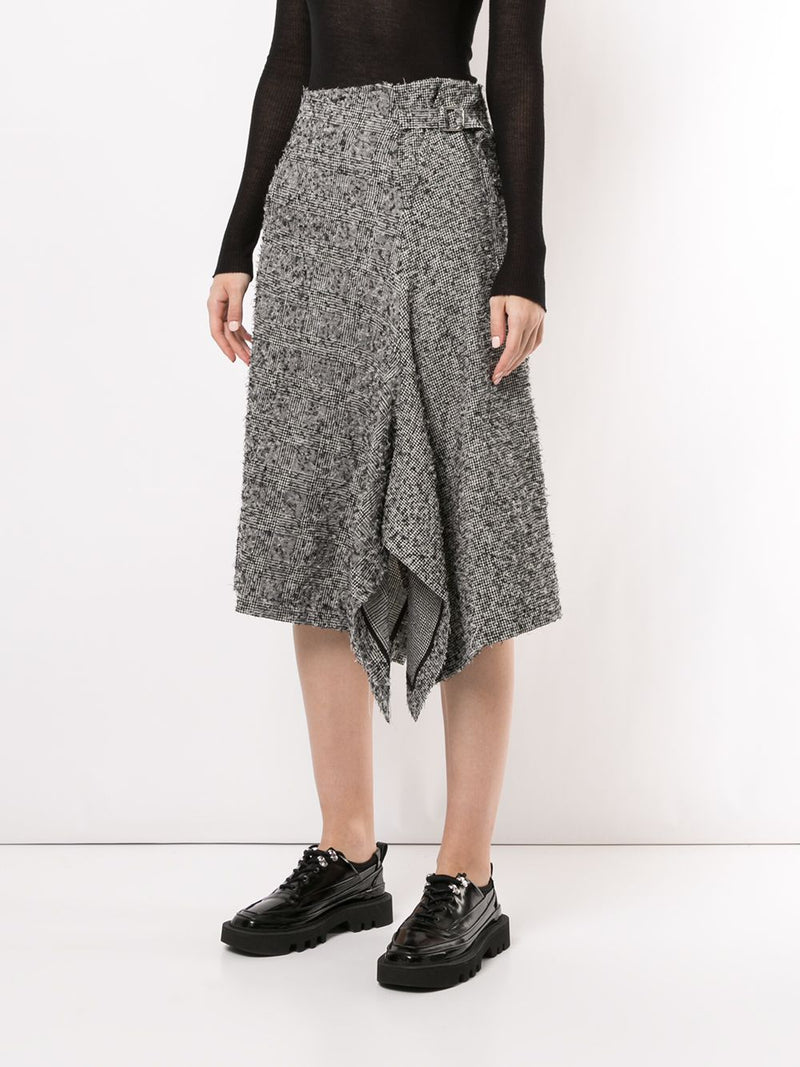Y'S WOMEN ASSYMETRIC LEFT BELT SKIRT