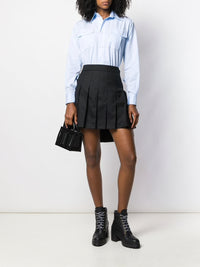 THOM BROWNE WOMEN LOW RISE DROPPED BACK MINI PLEATED SKIRT IN SUPER 120'S TWILL