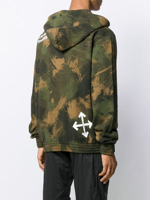 OFF WHITE MEN PAINTBRUSH CAMOU SLIM ZIP HOODIE ALL OVER