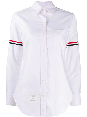 THOM BROWNE WOMEN CLASSIC LONG SLEEVE ROUND COLLAR SHIRT W/ GG ARMBAND IN UNIVERSITY STRIPE OXFOR