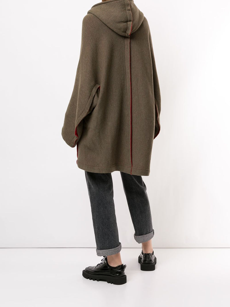 Y'S WOMEN FRINGE HOODED COAT