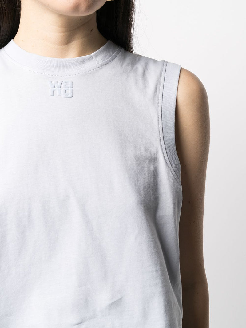 T BY ALEXANDER WANG WOMEN FUNDATIO JERSEY MUSCLE TEE WITH PUFF PAINT LOGO