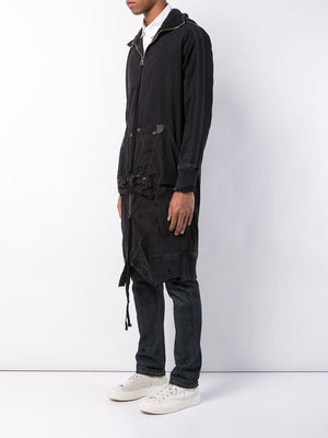 GREG LAUREN MEN BLACK TENT LONG HIGH TECH HOODED TRACK JACKET M040 FWBI
