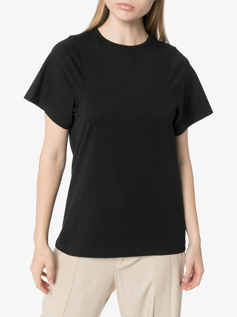 TOTEME WOMEN CURVED ARMHOLE TEE WITH MONOGRAM EMBROIDERY