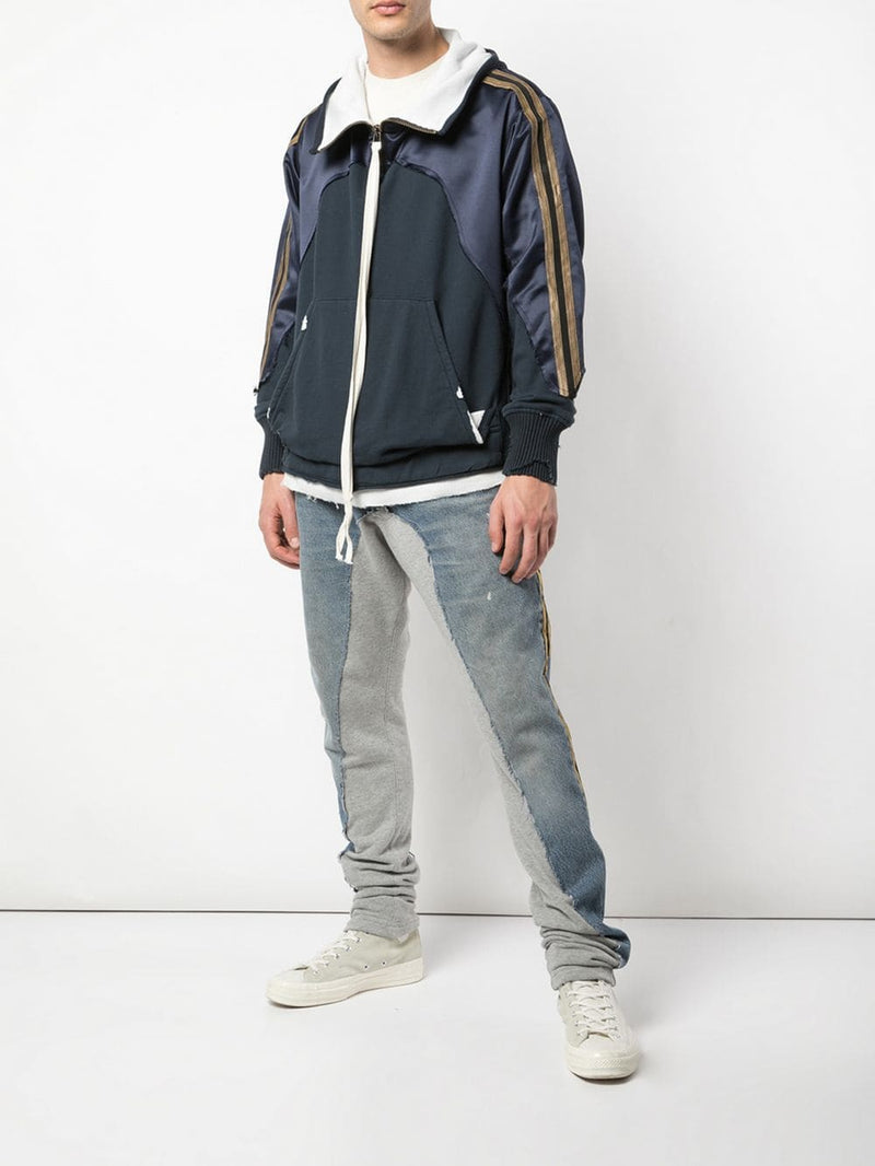 GREG LAUREN MEN NAVY SATIN HI TECH HOODIE