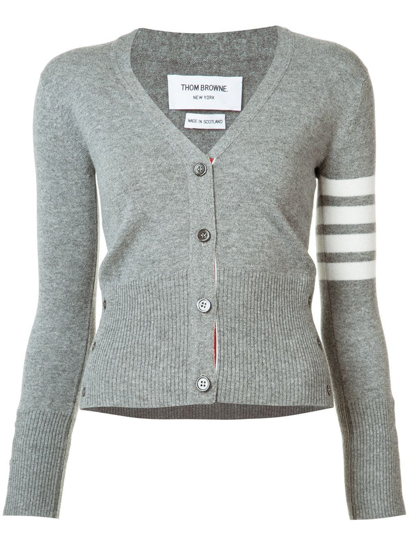 THOM BROWNE WOMEN CLASSIC V NECK CARDIGAN IN CASHMERE W/ WHITE 4 BAR SLEEVE STRIPE