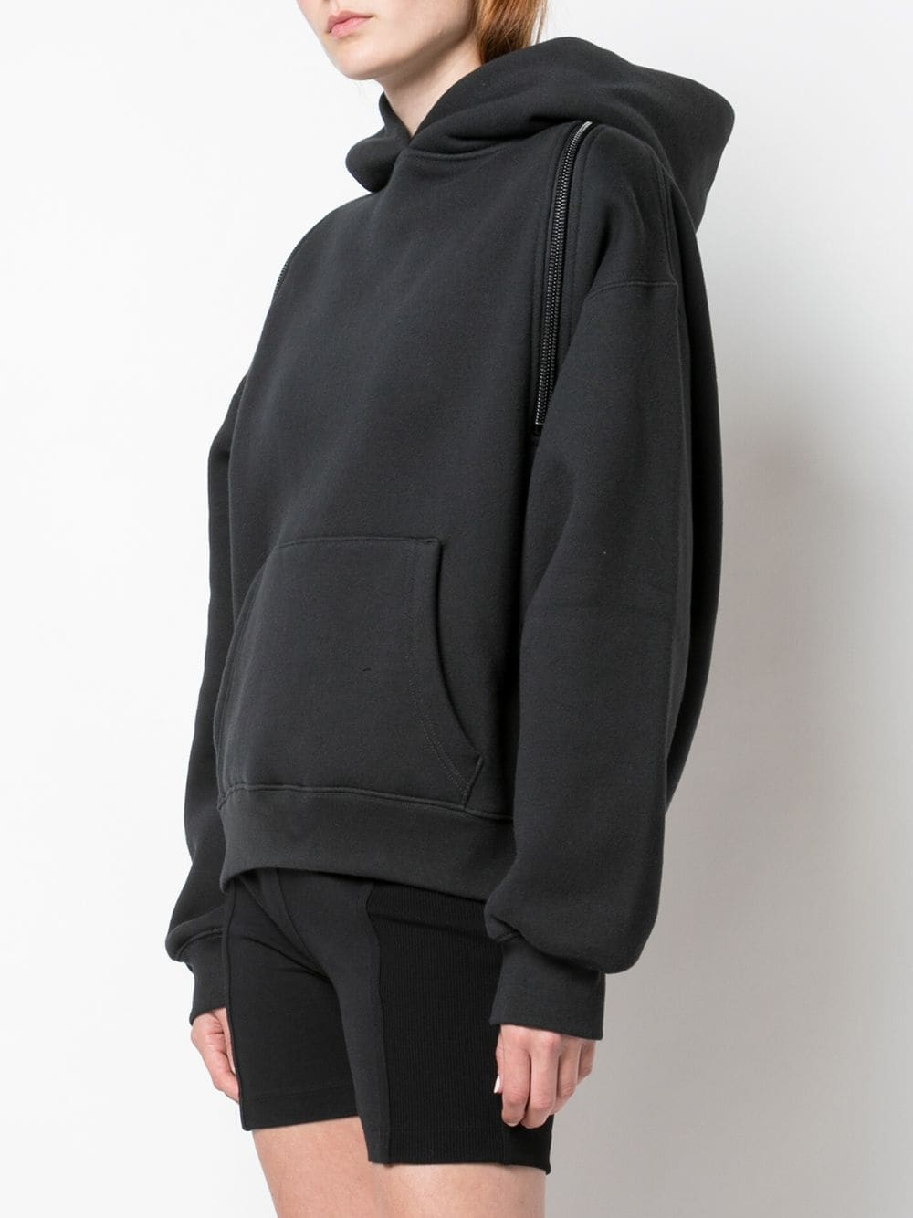 ALEXANDER WANG WOMEN WASH & GO DENSE FLEECE HOODIE W. ZIPPER DETAIL