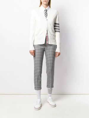 THOM BROWNE WOMEN MILANO STITCH CLASSIC V NECK CARDIGAN IN COTTON CREPE WITH 4 BAR