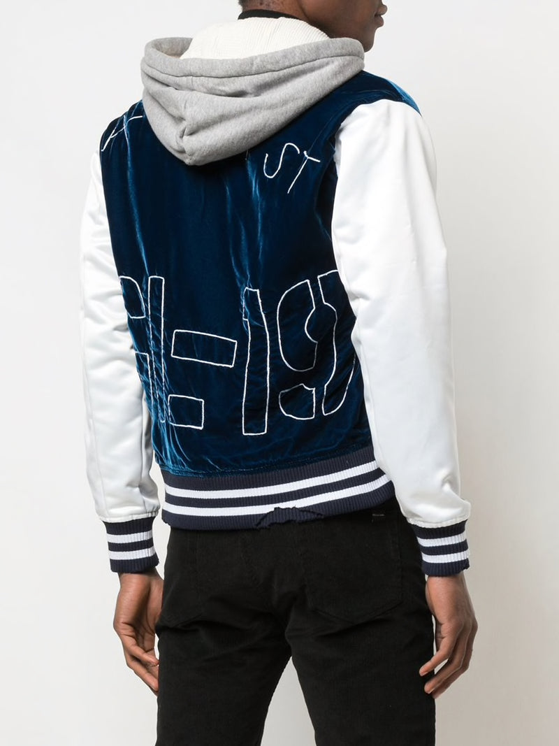 GREG LAUREN MEN BLUE VELVET VARSITY JACKET