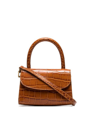 BY FAR WOMEN MINI CROCO EMBOSSED LEATHER TOP HANDLE BAG