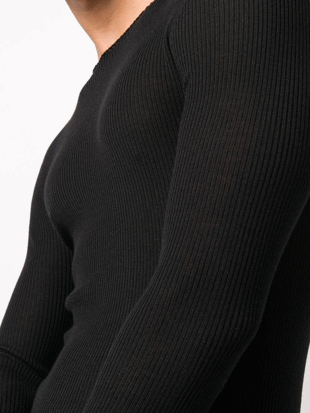 RICK OWENS MEN RIBBED ROUND NECK SWEATER
