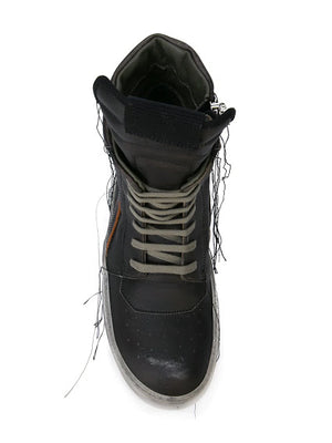 RICK OWENS MEN GEOBASKET SNEAKERS WITH CLEAR SOLE AND STRINGS