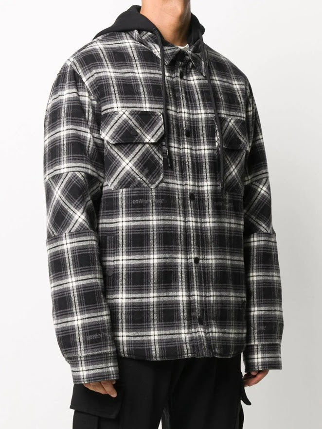 OFF-WHITE MEN PADDED FLANNEL CHECK SHIRT