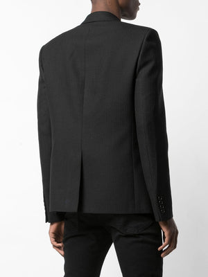 SAINT LAURENT MEN TAILORED EMBROIDERED JACKET WITH COLLAR IN SABLÉ WITH STRIPES
