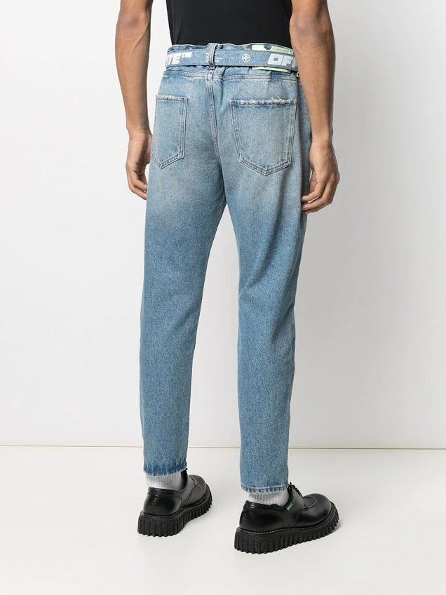 OFF WHITE MEN SLIM LOW CROTCH JEANS