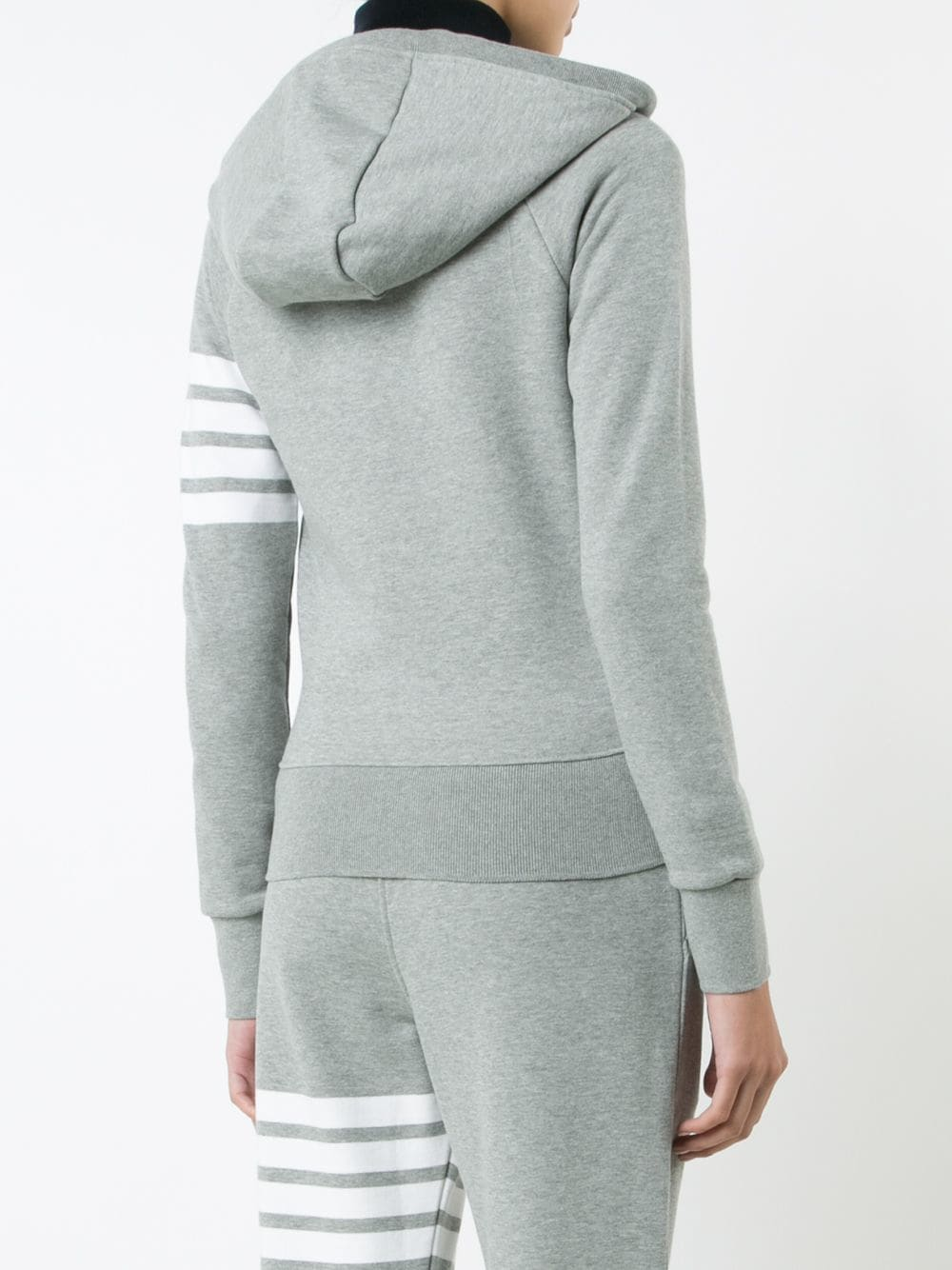 THOM BROWNE WOMEN ZIP UP HOODIE IN CLASSIC LOOP BACK W/ ENGINEERED 4 BAR