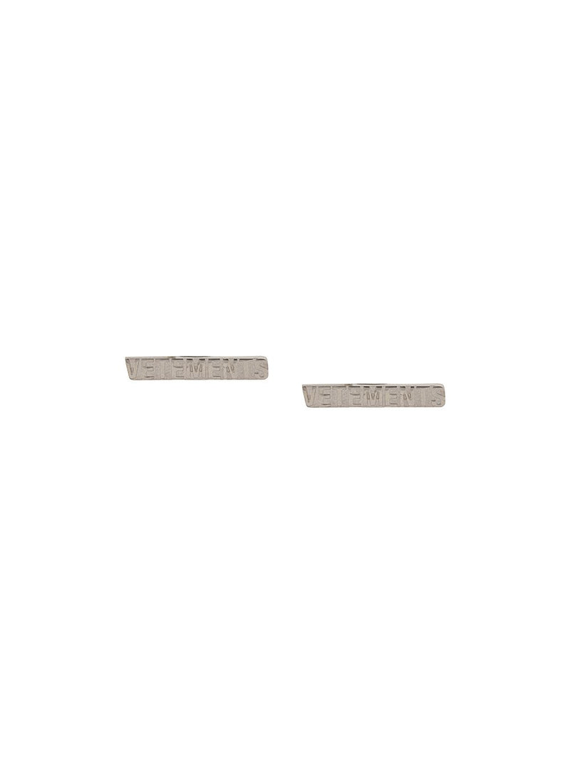 VETEMENTS WOMEN LOGO STUD EARRING