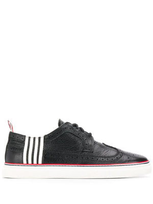 THOM BROWNE MEN LONG WING BROGUE SNEAKER W/ RWB CUPSOLE IN PEBBLE GRAIN LEATHER