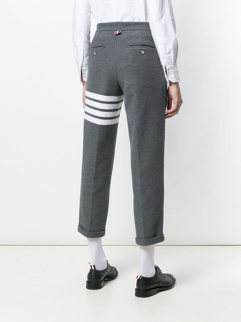 THOM BROWNE WOMEN TROUSER IN DOUBLE FACE TECH PIQUE WITH 4 BAR STRIPE
