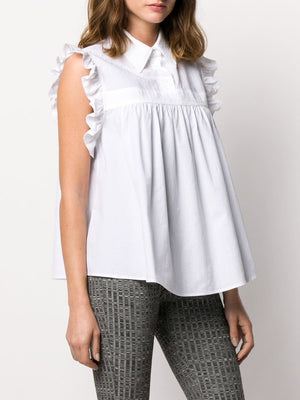 MM6 WOMEN SLEEVELESS RUFFLE SHIRT