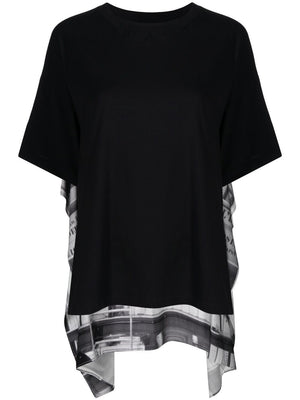 MM6 WOMEN OFFICE PRINTS DRAPE T-SHIRT