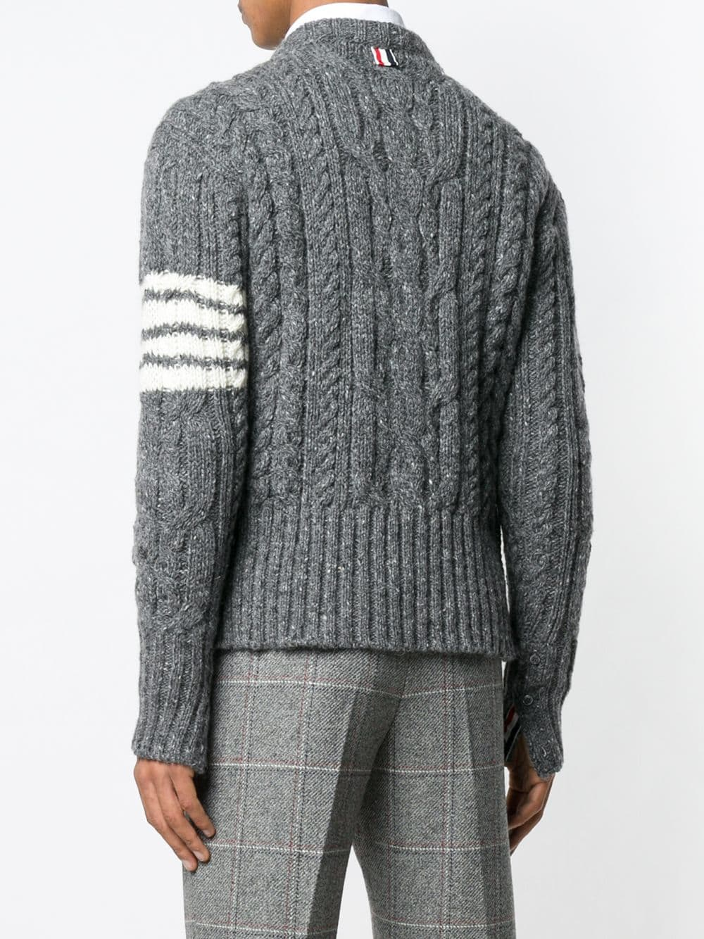 THOM BROWNE MEN ARAN CABLE CREW NECK PULLOVER IN DONEGAL WITH 4 BAR STRIPE