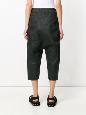 DRKSHDW WOMEN DRAWSTRING CROPPED WAXED DENIM