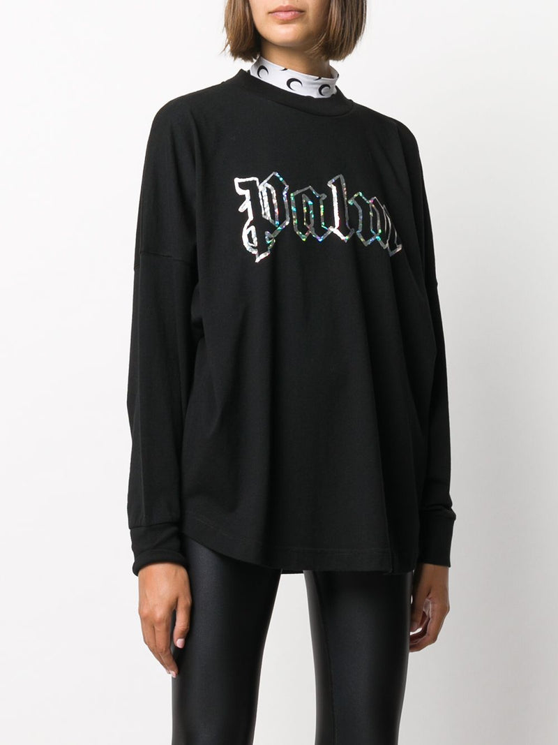 PALM ANGELS WOMEN BLANK LOGO OVER TEE L/S
