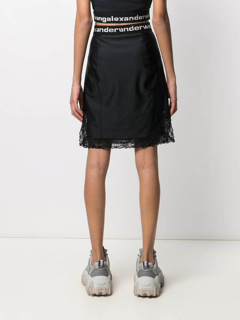T BY ALEXANDER WANG WOMEN FITTED KNEE LENGTH SLIP SKIRT WITH LACE