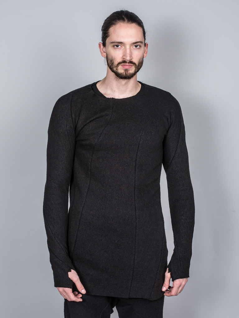 LEON EMANUEL BLANCK DISTORTION GLOVED LONG T-SHIRT EXTENDED HEAVY JERSEY SWEATER