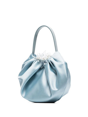 SIMONE ROCHA WOMEN SATIN MINI PLEATED BAG WITH LEATHER HANDEL & BEADING