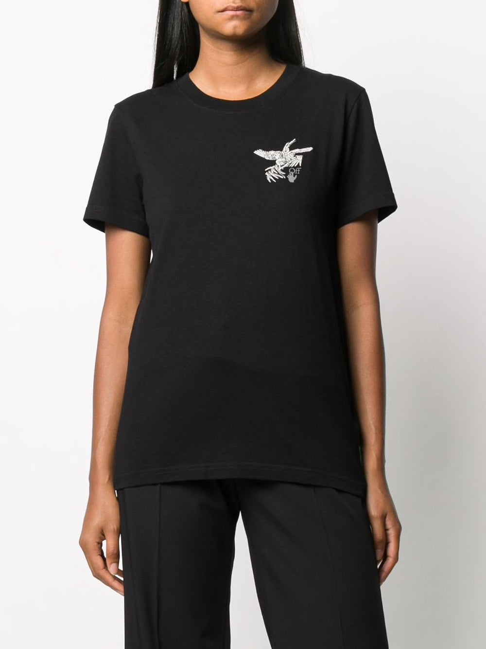 OFF-WHITE WOMEN EMBR BIRDS REFLECTIVE CASUAL TEE