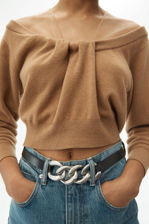 ALEXANDER WANG WOMEN CROPPED DRAPE NECK PULLOVER WITH ILLUSION TULLE
