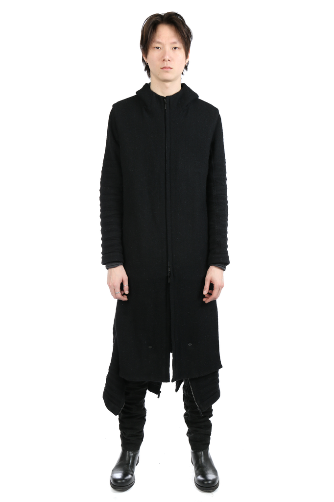 LAYER-0 MEN HOODED TRENCH COAT WITH LEG WARMER