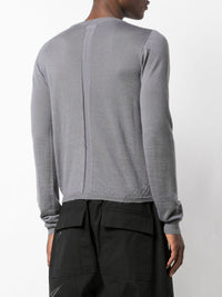 RICK OWENS MEN CROPPED BIKER LEVEL ROUND NECK SWEATER