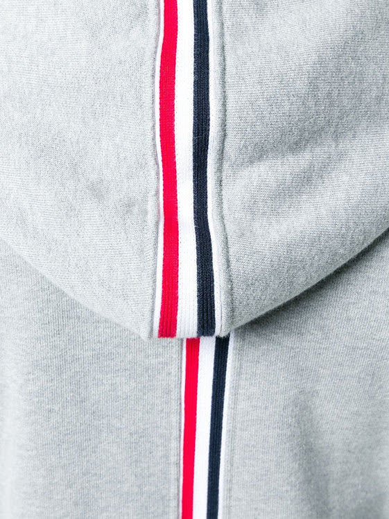 THOM BRWONE MEN HOODIE ZIP-UP PULLOVER IN CLASSIC LOOPBACK WITH CB RWB STRIPE