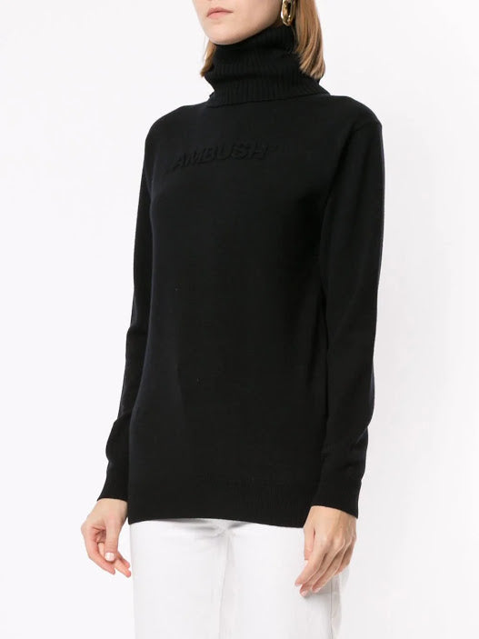 AMBUSH UNISEX TURTLE NECK EMBOSS KNITTED SWEATER