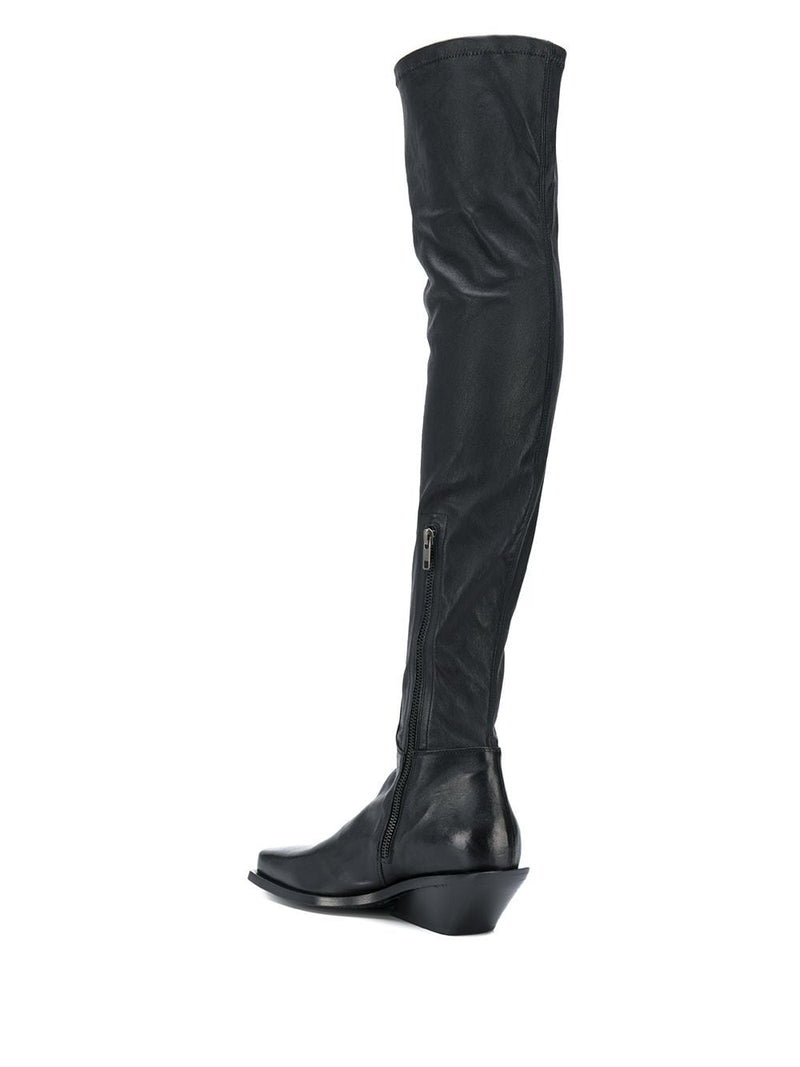 ANN DEMEULEMEESTER WOMEN STRETCH LEATHER THIGH HIGH BOOTS WITH HEEL