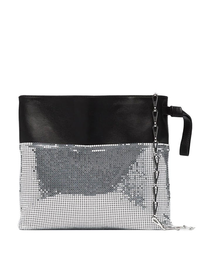 PACO RABANNE WOMEN METALLIC MESH AND LEATHER BUCKET BAG