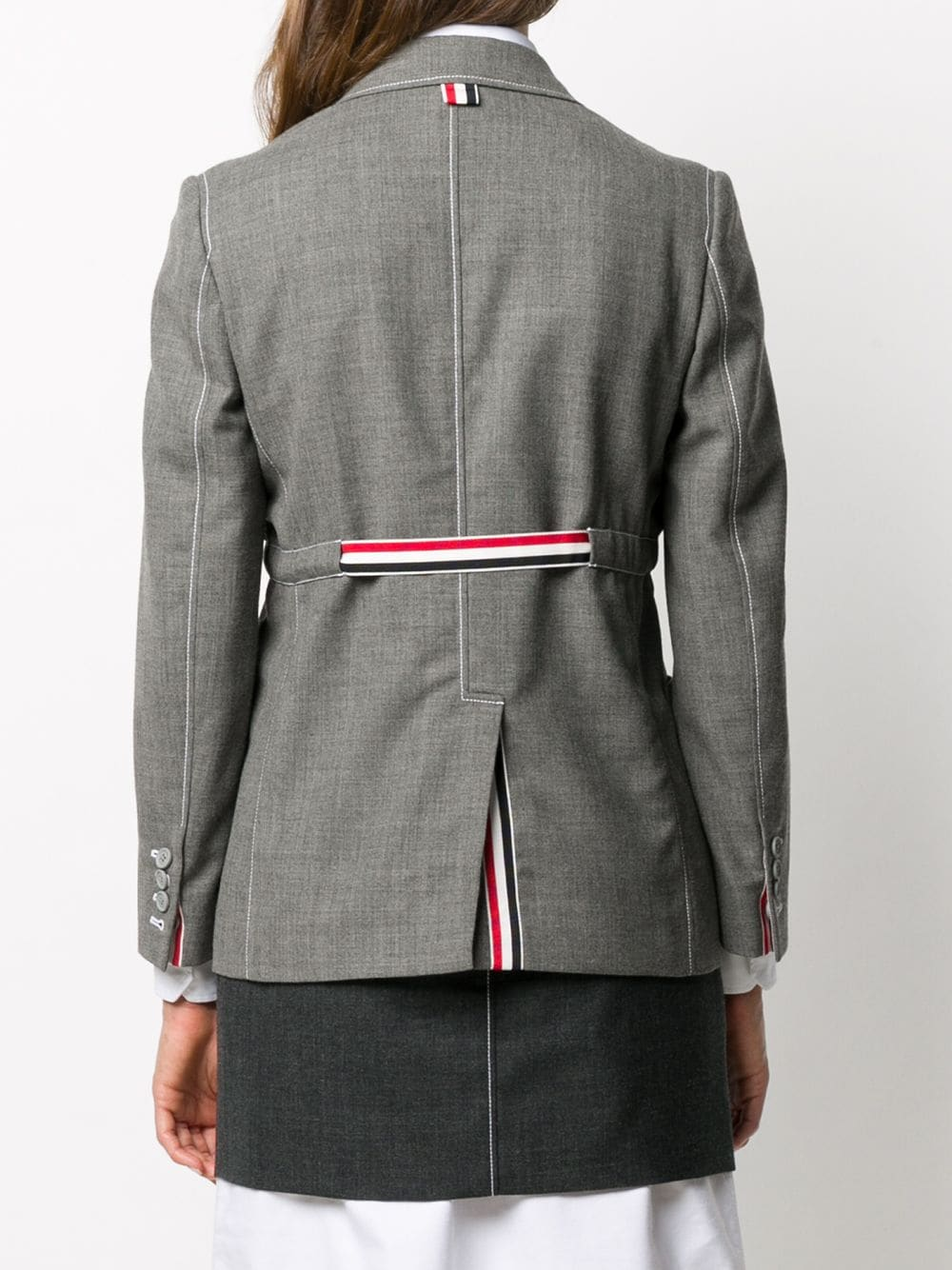 THOM BROWNE WOMEN SACK JACKET W/ RWB GG BELT - FIT 2 - IN 2PLY FRESCO