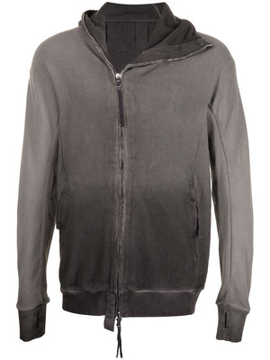 BORIS BIDJAN SABERI MEN ZIPPER 2 RESIN DYED HOODED ZIPPER PADDED JACKET