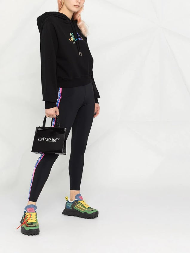 OFF WHITE WOMEN RAINBOW OFF WHITE CROP HOODIE