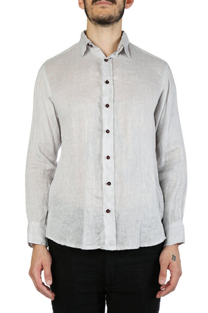 GEOFFREY B SMALL MEN HANDMADE CLASSIC BODY VARESE LINEN REMOVABLE COLLAR 2-IN-1 DESIGN SHIRT
