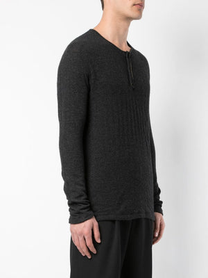TAICHI MURAKAMI MEN CASHMERE COTTON LONG SLEEVE HENRY NECK T-SHIRT