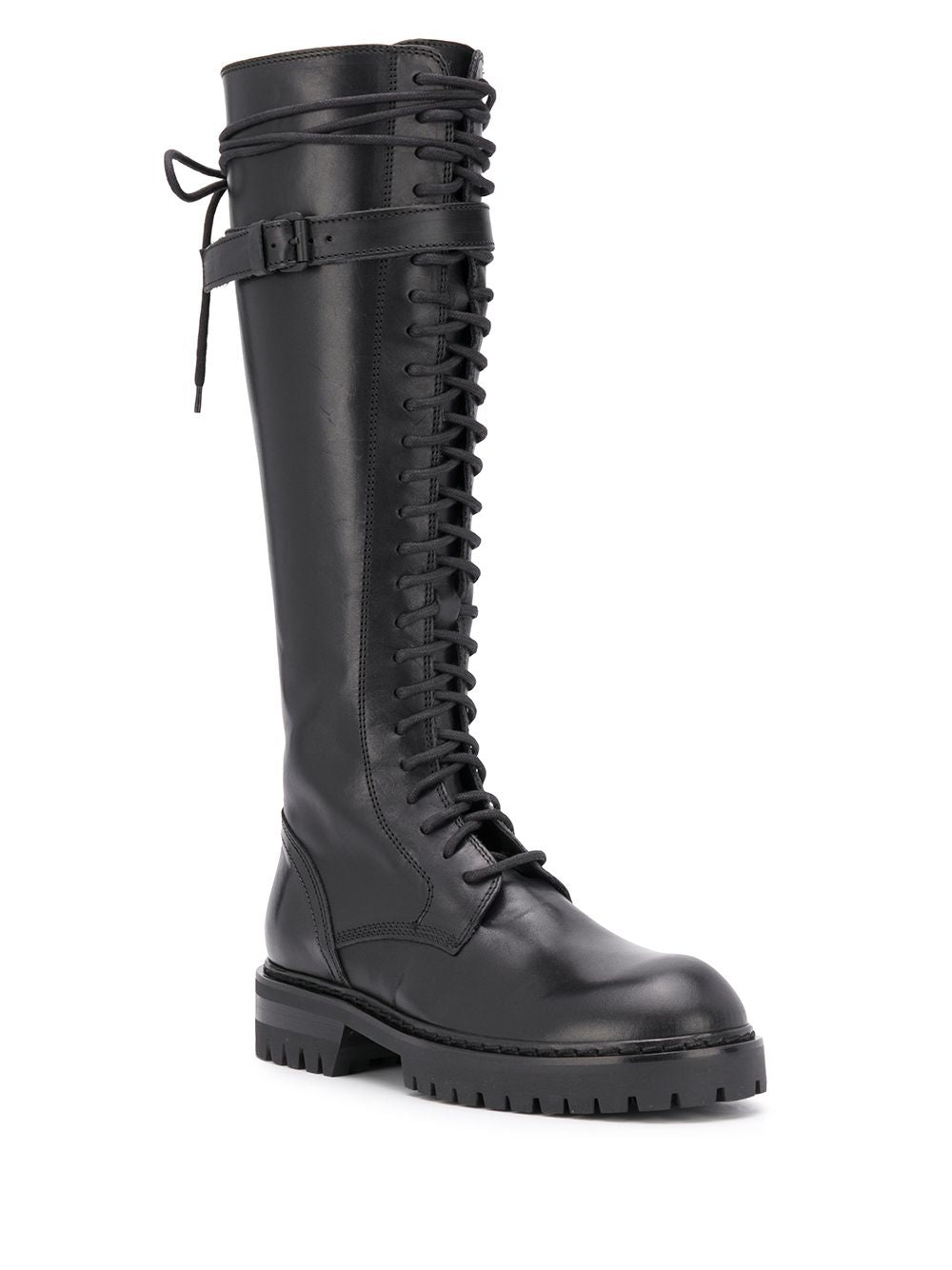 ANN DEMEULMEESTER WOMEN 24 HOLES COMBAT BOOTS WITH LEATHER STRAP
