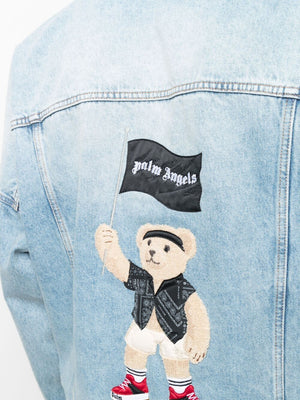 PALM ANGELS MEN PIRATE BEAR CLASSIC DENIM JACKET